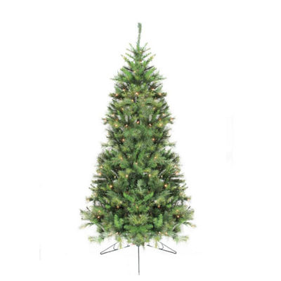 7.5' Pre-Lit Canyon Pine Artificial Half Wall Christmas Tree - Clear Lights