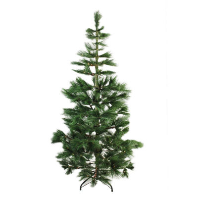 """7' x 48"""" Pre-Lit Long Needle Pine Artificial Christmas Tree - Warm Clear Micro Rice LED Lights"""