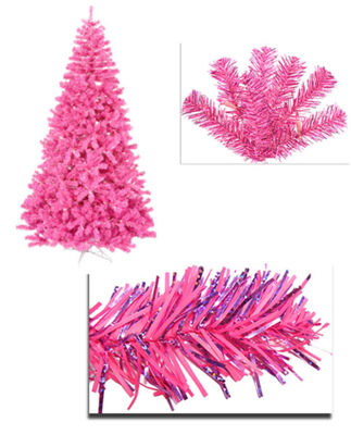 7' Pre-Lit Hot Pink Full Artificial Sparkling Tinsel Christmas Tree - Pink Lights