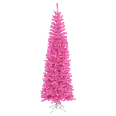 """6.5' x 27"""" Pre-Lit Sparkling Pink Tinsel Artificial Christmas Tree - Pink Dura Lights"""""""