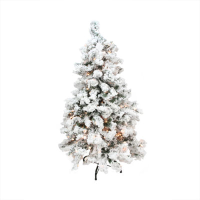 6.5' Pre-Lit Heavily Flocked Pine Medium Artificial Christmas Tree - Clear Lights