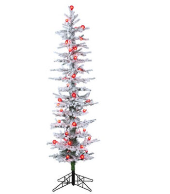 6' Pre-Lit White Snow Flocked Green Pine Artificial Christmas Tree - Red Lights