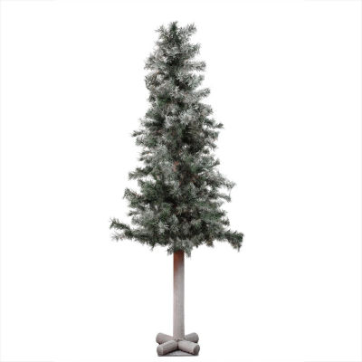 "5' x 28"" Frosted and Glittered Woodland Alpine Artificial Christmas Tree - Unlit"