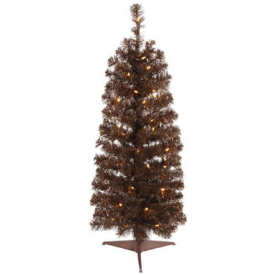 4.5' Pre-Lit Mocha Brown Artificial Pencil TinselChristmas Tree - Clear Lights