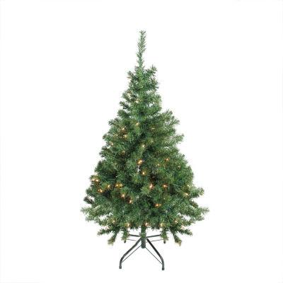 "4' x 30"" Pre-Lit Niagara Pine Medium Artificial Christmas Tree - Clear Lights"""