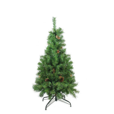 "4' x 30"" Dakota Red Pine Full Artificial Christmas Tree with Pine Cones - Unlit"""