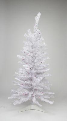 4' Pre-lit White Iridescent Pine Artificial Christmas Tree - Pink/Purple Lights