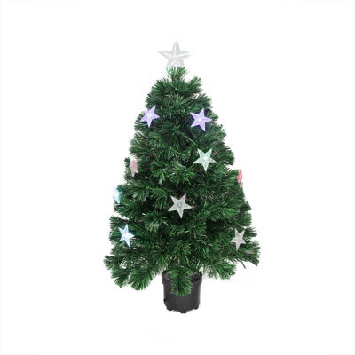 4' Pre-Lit LED Color Changing Fiber Optic Artificial Christmas Tree with Stars