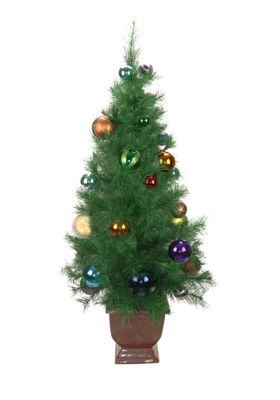 4' Potted Pre-Decorated Multi-Color Ball OrnamentArtificial Christmas Tree - Unlit