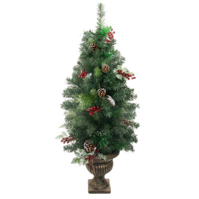 4' Potted Pre-Decorated Frosted Pine Cone  Berry and Twig Artificial Christmas Tree - Unlit