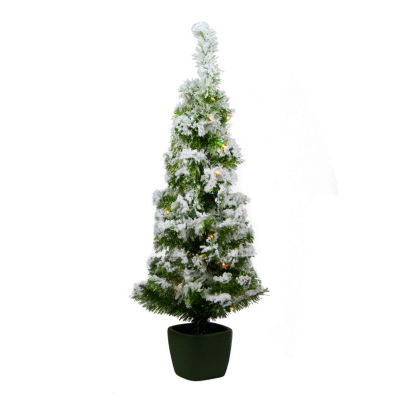 3.5' x 18'' Pre-Lit Potted Flocked Green Artificial Christmas Tree - Clear Lights