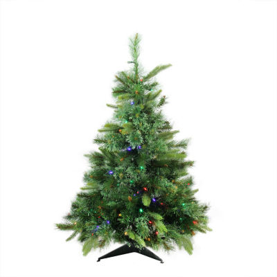 """3' x 29"""" Pre-Lit Cashmere Mixed Pine Full Artificial Christmas Tree - Multi LED Lights"""