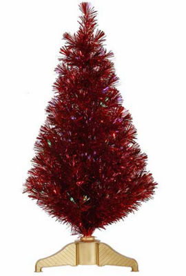3' Red Hot Fiber Optic Artificial Tinsel ChristmasTree - Multi Lights