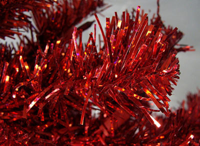 3' Pre-Lit Red Artificial Pencil Tinsel ChristmasTree - Red Lights