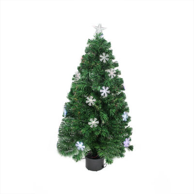 3' Pre-Lit Color Changing Fiber Optic Christmas Tree with Snowflakes