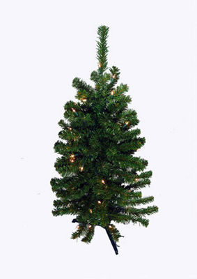 3' Battery Operated Pre-Lit LED Pine Artificial Christmas Tree - Clear Lights