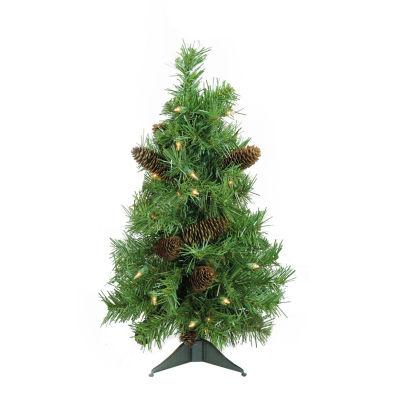 "2' x 17"" Pre-Lit Dakota Red Pine Full Artificial Christmas Tree - Clear Dura Lights"