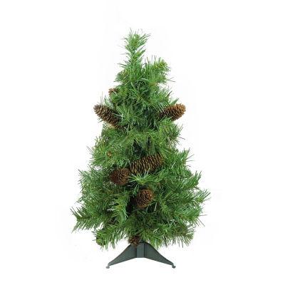 "2' x 17"" Dakota Red Pine Full Artificial ChristmasTree with Pine Cones - Unlit"""