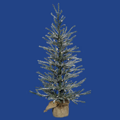 "2' x 14"" Pre-Lit Frosted Angel Pine Artificial Christmas Tree in Burlap Base - Clear Dura Lights"""