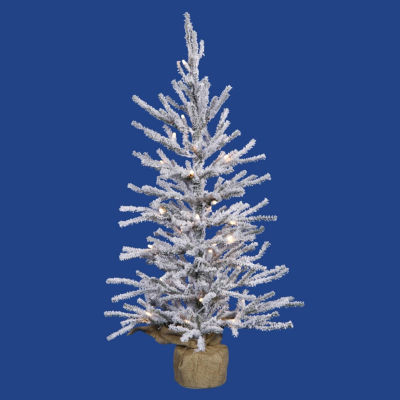 "2' x 14"" Pre-Lit Flocked Angel Pine Artificial Christmas Tree in Burlap Base - Clear Dura Lights"""