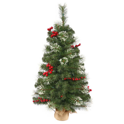 2' Siegal Berry Pine Artificial Christmas Tree with Burlap Base - Unlit