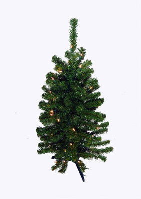2' Pre-Lit LED Natural Two-Tone Pine Artificial Christmas Tree - Clear Lights