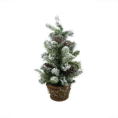 2' Potted Flocked Pine Artificial Christmas Tree with Wicker Base - Unlit