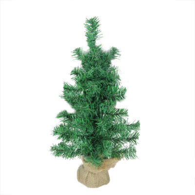 """18"""" x 9.5"""" Mixed Green Pine Artificial Christmas Tree in Burlap Base - Unlit"""""""