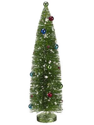 """18"""" Pre-Decorated Flocked Glitter Bottle Brush Christmas Tree - Unlit"""""""