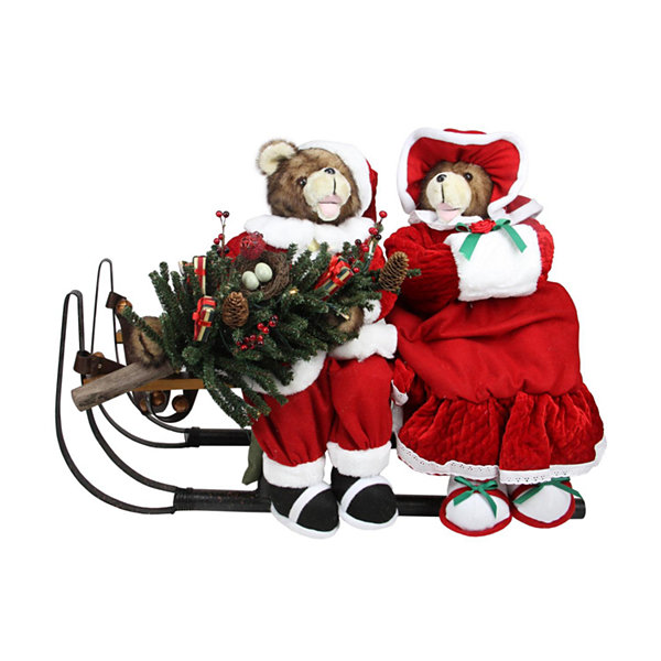 "34"" Battery Operated Lighted Musical Bear Couple with Sleigh Christmas Decoration"""