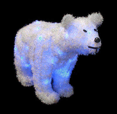 "24"" Battery Operated LED Lighted Tinsel Polar BearChristmas Decoration"""