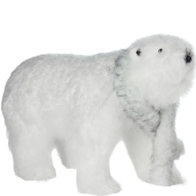 "19.75"" Winter's Beauty Sparkling White Walking Bear with Scarf Christmas Decoration"""
