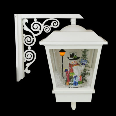 """17.75"""" Lighted Musical Snowman Wall Mounted Snowing Christmas Street Lamp"""""""