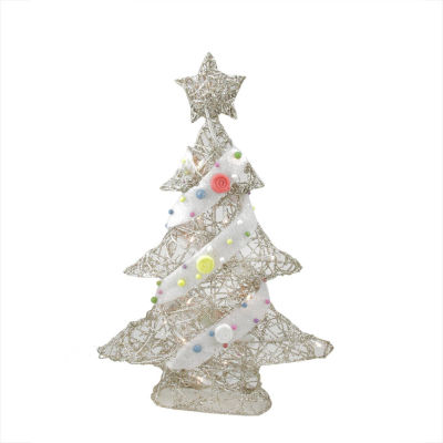 "22"" Pre-Lit Champagne Gold Glittered Rattan Candy Covered Christmas Tree Table Top Decoration"""