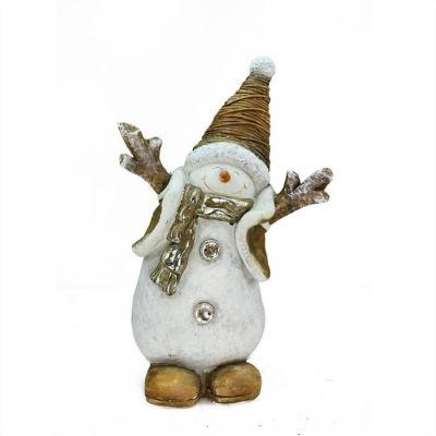 "19.5"" Whimsical Ceramic Jolly Christmas Snowman Decorative Tabletop Figure"""