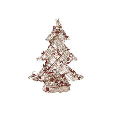 "19"" Pre-Lit Champagne Gold Glittered Rattan Berry Artificial Christmas Tree - Clear Lights"""