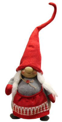 """24"""" Grinning Female Gnome Decoration with Red Apron and Twine Bow"""""""