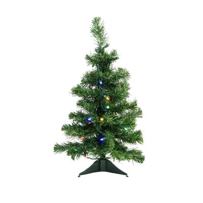 "2' x 14"" Pre-Lit Mixed Classic Pine Medium Artificial Christmas Tree - Multi LED Lights"""
