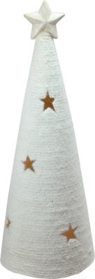 "25.5"" LED Lighted White Christmas Tree with Star Cut-Outs Table Top Figure"""