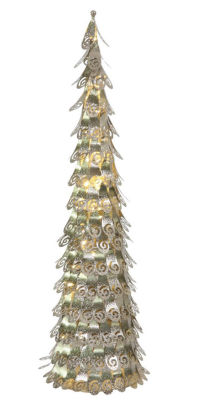 3' Pre-Lit Champagne Christmas Cone Tree Yard Art Decoration - Warm Clear LED Lights