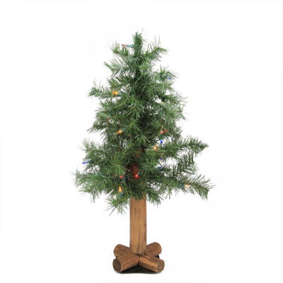 2' Pre-Lit Woodland Alpine Artificial Christmas Tree - Multi-Color Lights