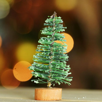 "3"" Green Bottle Brush Artificial Mini Pine Christmas Tree"""