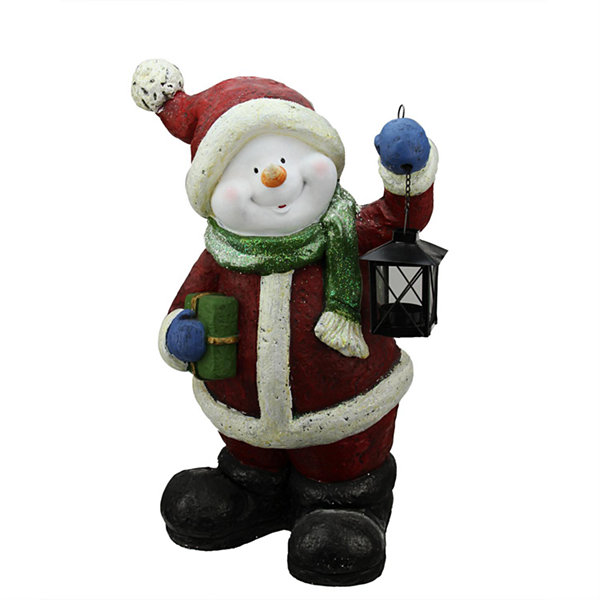"19"" Festive Glitter Snowman with Lantern Christmas Table Top Decoration"""