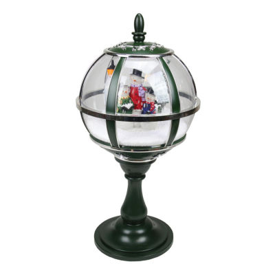 """23.5"""" Lighted Green and Silver Musical Snowing Snowman Christmas Table Top Street Lamp"""
