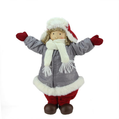 """12.25"""" Cheerful Young Boy Gnome in Gray Puffy Winter Coat and Red Hat Christmas Decoration"""""""