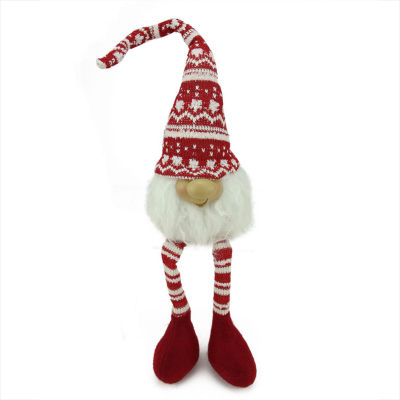"""21.5"""" Red and White Portly Smiling Hanging Leg Gnome Decoration with Christmas Snow Cap"""""""