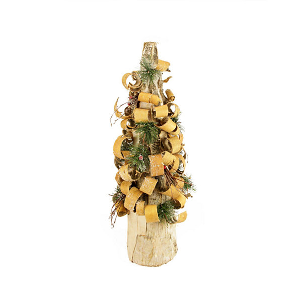 "23"" Rustic Tree Bark Inspired Flocked Table Top Christmas Cone Tree with Pine and Berries"""