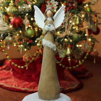 "24"" Brown and Silver Eco-Friendly Praying Angel Christmas Tabletop Figure"""