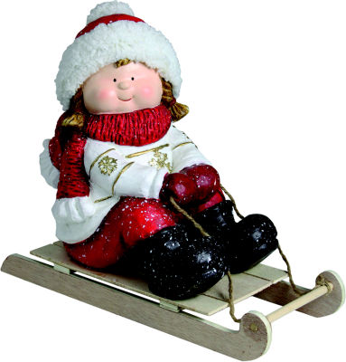 "16"" Christmas Morning Girl on a Sled Red and White Christmas Tabletop Figure"""