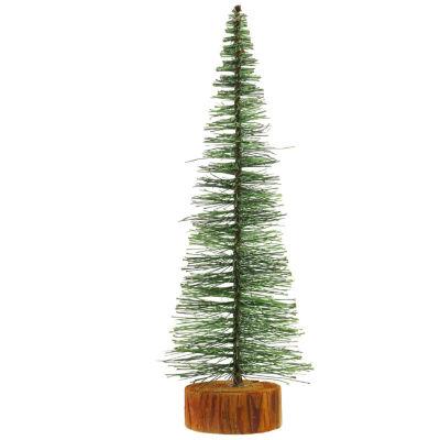 "11"" Green Bottle Brush Artificial Mini Pine Christmas Tree"""
